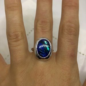 Vintage Abalone ring sz 7 silver tone setting